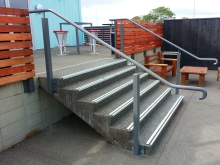 Stair handrail outdoor area fabricated in Christchurch by Metalcraft Engineering