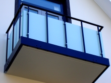 Balcony guard rail steel and glass fabricated Christchurch