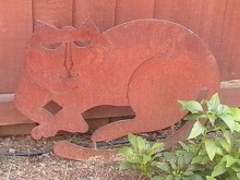 Rusted garden art metal cat Christchurch
