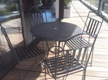 Patio furniture Stone table top metal base Christchurch Metalcraft Engineering