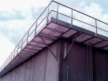Prison roof access aluminium grating and hand rail system Christchurch